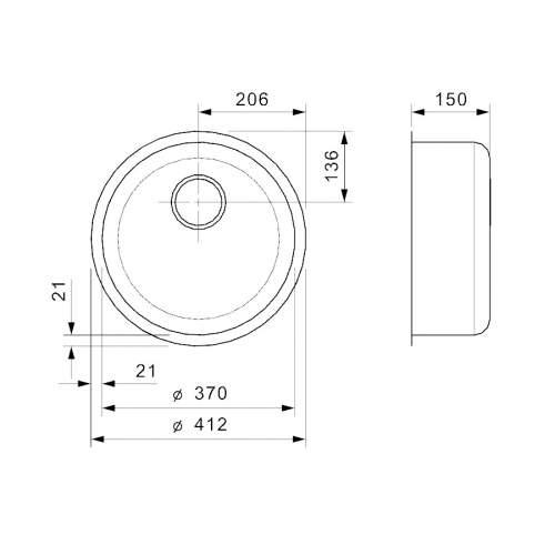 Reginox Single Round Bowl Integrated Kitchen Sink - L18 370 OKG