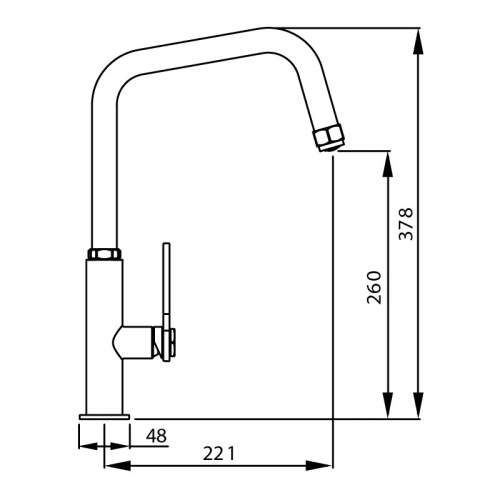 Abode HEX Single Lever Kitchen Tap Dimensions