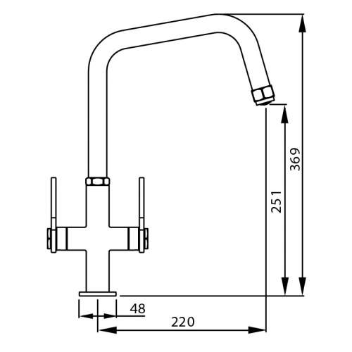 Abode HEX Monobloc Twin Lever Kitchen Tap Dimensions