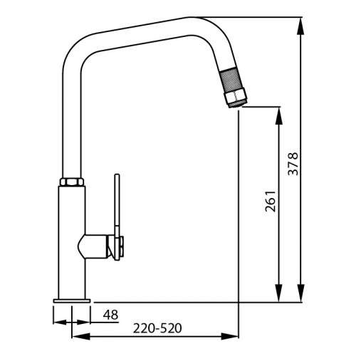 Abode HEX Single Lever Pull Out Kitchen Tap Dimensions
