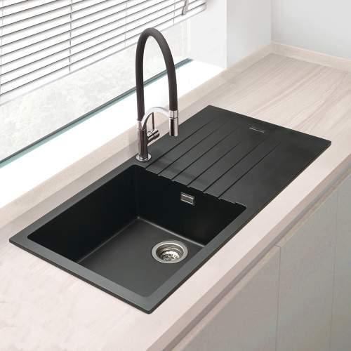 Bluci Turano Single Bowl Black Granite Kitchen Sink