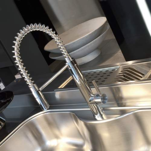 Gessi Oxygen Hi-Tech Side Lever Mixer with Detachable Swivel Spring Spout