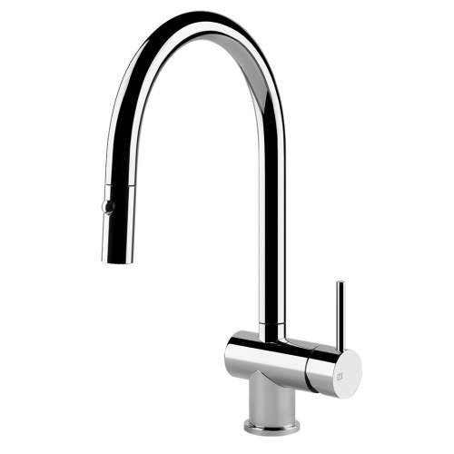 Gessi Oxygen 50317 Side Lever Mixer with Swivel C-Spout and Pull-Out Spray