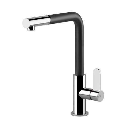 Gessi Helium Side Lever L-Spout Mixer Tap with Pull-Out Spray