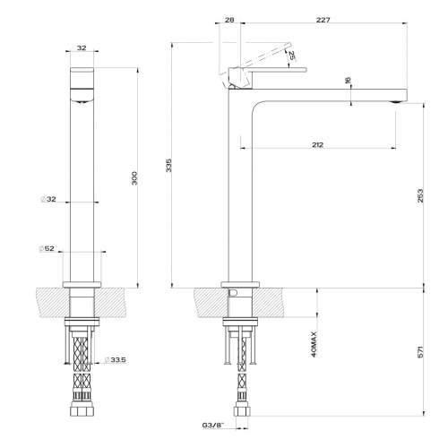 Gessi Helium Single Top Lever Tall Monobloc Mixer Tap