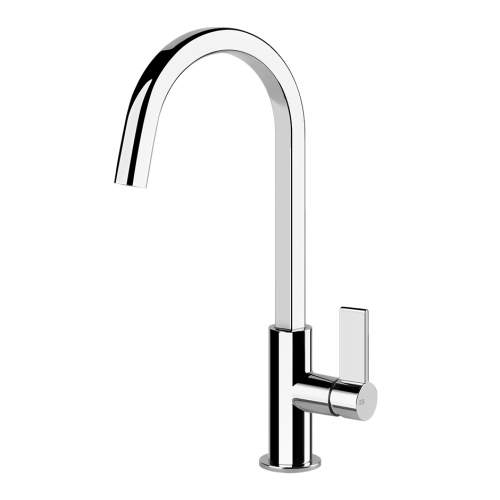 Gessi Helium Single Side Lever Mixer Tap with Swivel Square C-Spout
