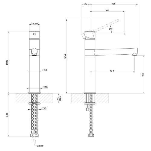 Gessi Neutron Single Top Lever Monobloc Mixer Tap