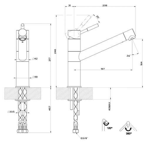 Gessi Oxygen Single Top Lever Monobloc Mixer Tap