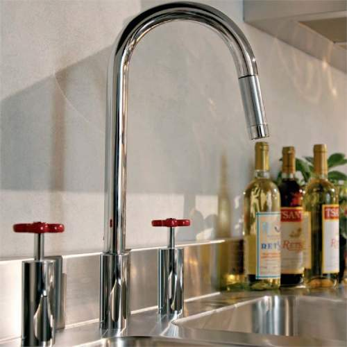 Gessi Marine 3 Hole Mixer with Red Feature Handles and Pull-Out Spray
