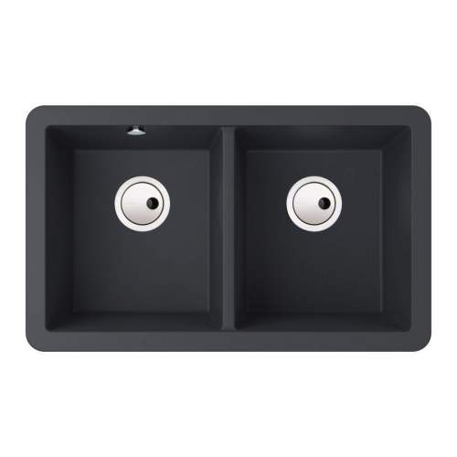 Abode MATRIX SQGR15 2.0 Bowl Granite Kitchen Sink in Black