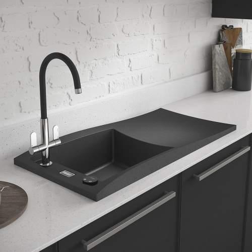 Abode Londa Single Bowl Metallic Granite Kitchen Sink