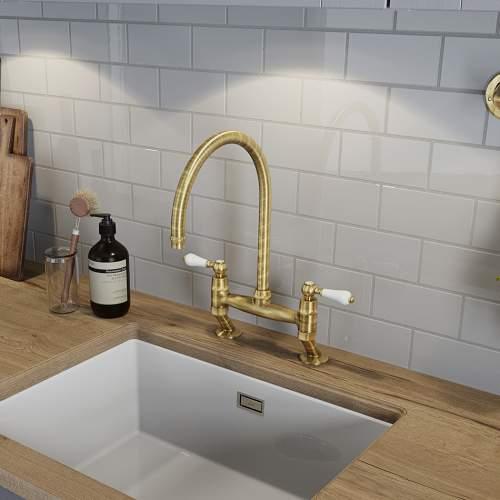 Abode LUDLOW Bridge Kitchen Tap in Brushed Brass