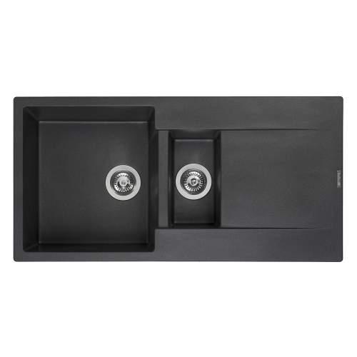 Reginox Amsterdam 15 1.5 Bowl Granite Sink in Black Silvery