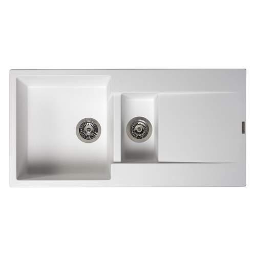 Reginox Amsterdam 15 1.5 Bowl Granite Sink in Pure White