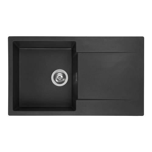 Reginox Amsterdam 10 Single Bowl Granite Sink in Black Silvery