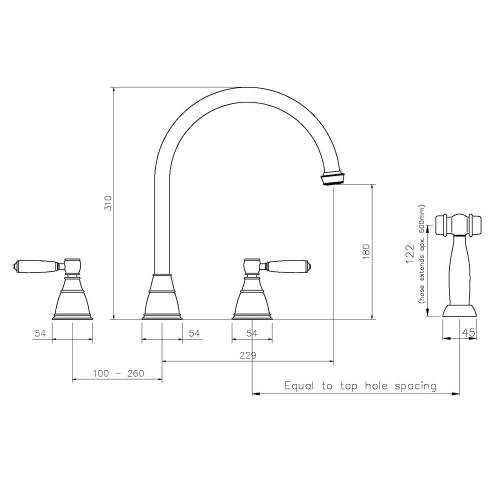 Abode Astbury 3 Part Mixer with Handspray