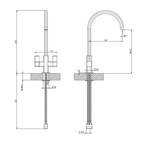 Teka SMK 104 Designer Dual Lever Kitchen Mixer Tap