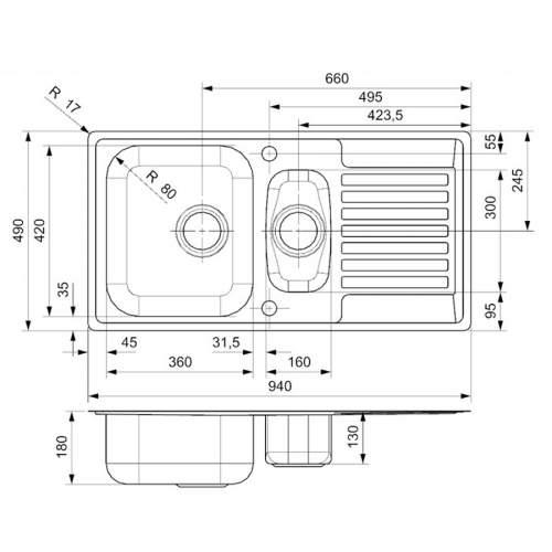 Reginox CENTURIO L 1.5 Bowl Integrated Kitchen Sink