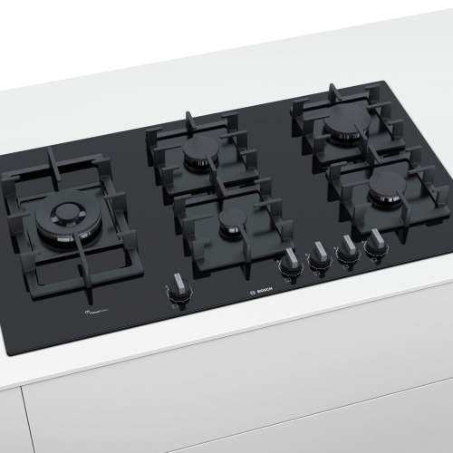 Bosch Serie 6 PPS9A6B90 90 cm Tempered Black Glass Gas Hob