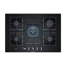 Bosch Serie 6 PPQ7A6B90 75 cm Tempered Black Glass Gas Hob