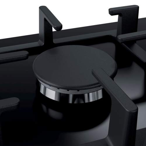 Bosch Serie 6 PPQ7A6B90 75 cm Tempered Black Glass Gas Hob