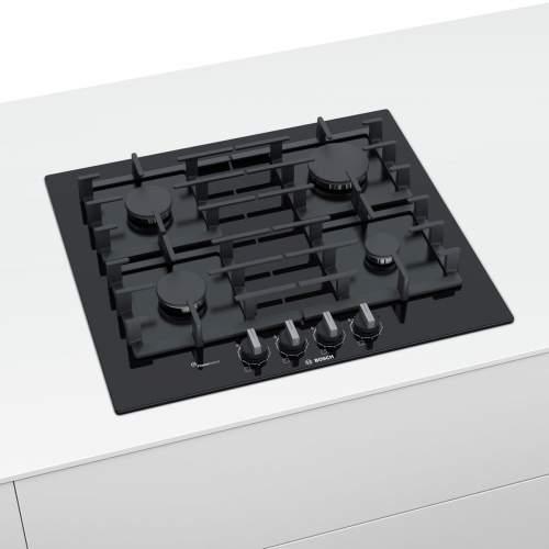 Bosch Serie 6 PPP6A6B90 60cm Tempered Black Glass Gas Hob