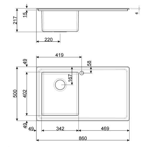 Smeg Mira LD861 Low Profile Inset Single Bowl Sink