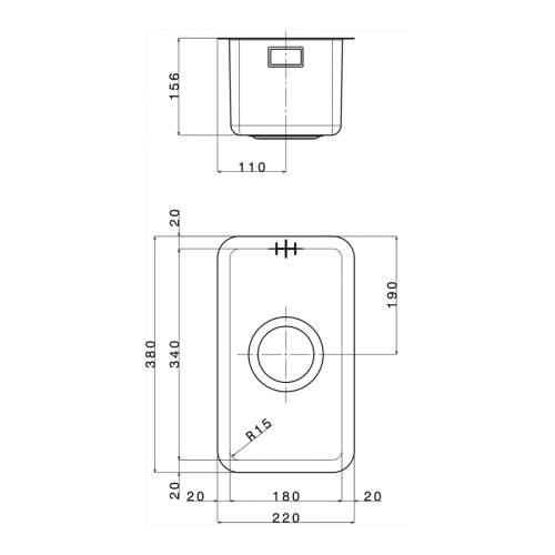Smeg Mira VSTR18-2 Undermount Half Bowl Sink