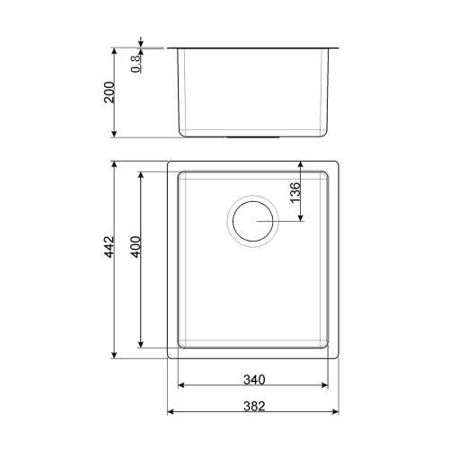 Smeg Mira VSTR34-2 34cm Undermount Single Bowl Sink