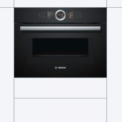Bosch Serie 8 CMG656BB6B Black Built-In Compact Combination Microwave Oven