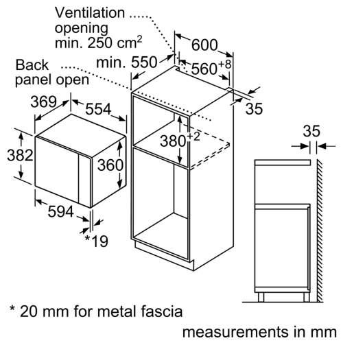 Bosch Serie 4 BFL553MB0B 38cm Black Built-In Microwave Oven