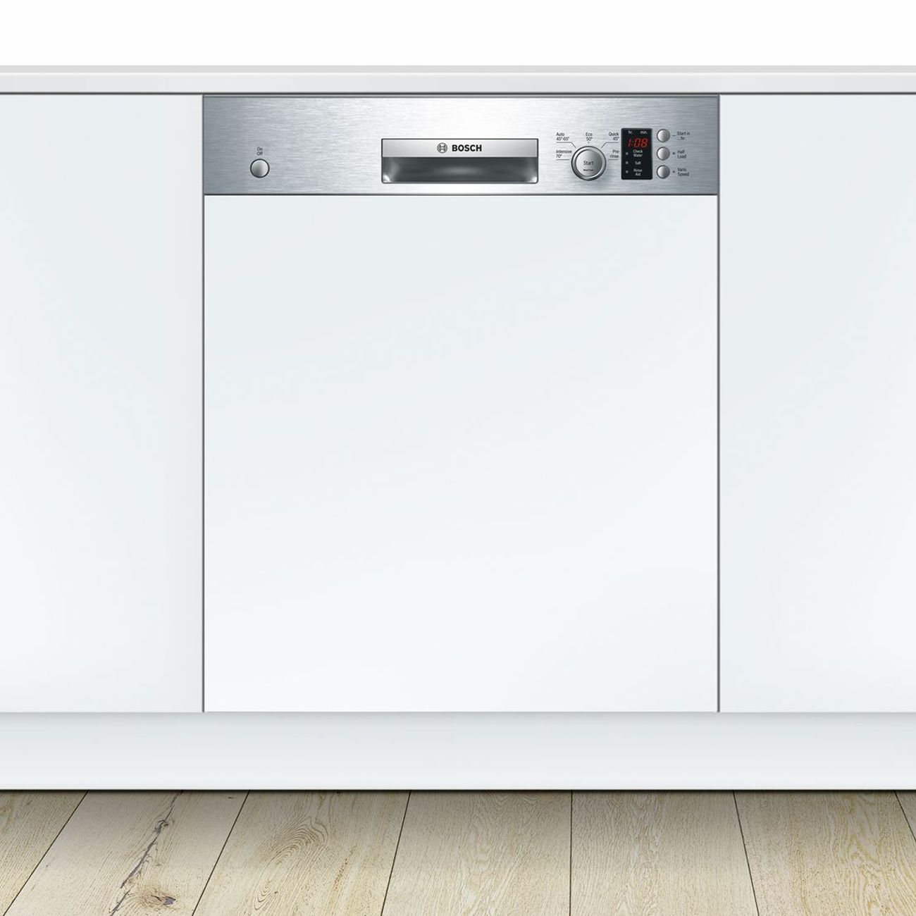 Bosch Range Top >> Bosch Serie 4 SMI50C15GB 60cm Stainless Steel Semi-Integrated Dishwasher - Sinks-Taps.com