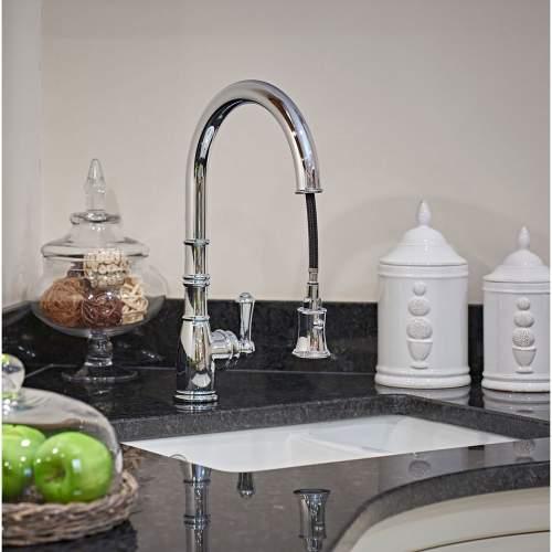 Perrin and Rowe AQUITAINE 4744 Single Lever Mixer Kitchen Tap with Pull-Down Rinse