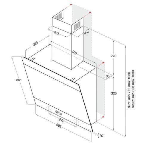 Indesit IHVP 6.6LMK 60cm Angled Cooker Hood