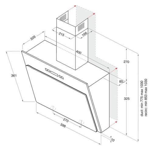 Indesit Aria IHVP 6.4LLK 60cm Angled Cooker Hood