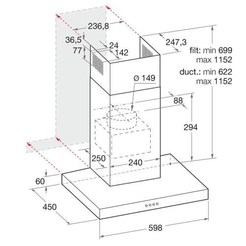 Indesit Aria IHBS 6.5LMX 60cm Stainless Steel Cooker Hood