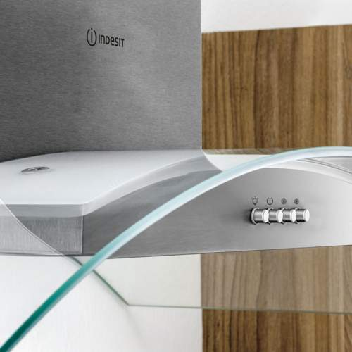 Indesit Aria IHGC6.5LMX 60cm Curved Glass Cooker Hood