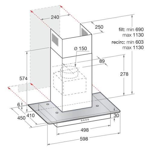 Indesit Aria IHF6.5LMX 60cm Flat Glass Cooker Hood