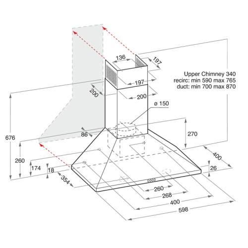 Indesit IHPC6.4LMK 60cm Black Pyramid Cooker Hood