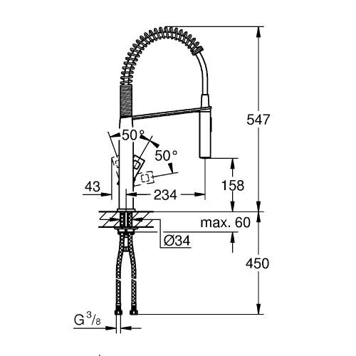 Grohe Eurocube Single Lever Professional Tap with Pull-Out Spring Spray