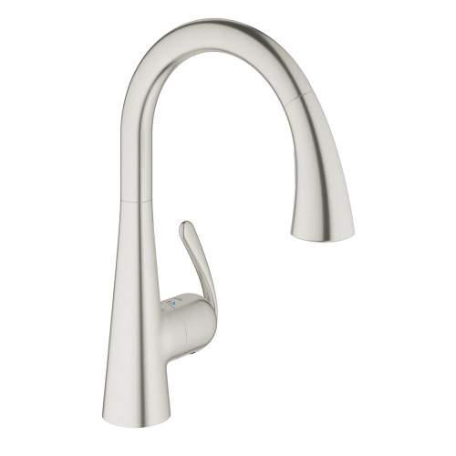 Grohe Zedra Single Lever Stainless Steel Tap with Pull-Out Spray