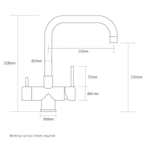 Caple VAPOS2 Quad 3 in 1 Stainless Steel Instant Hot Water Tap