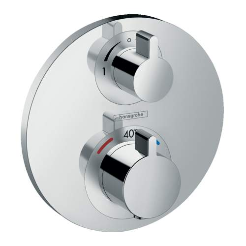 Hansgrohe Round Shower Valve with Croma Select 180 Overhead and Rail Kit