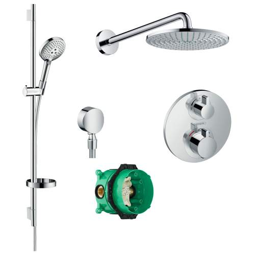 Hansgrohe Round Shower Valve with Raindance Select Rail Kit and Air 240 Overhead