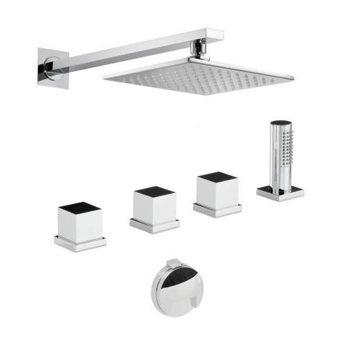 Abode Zeal Thermostatic Deck Mounted Bath Overflow Filler Kit with Handshower & Wall Mounted Shower