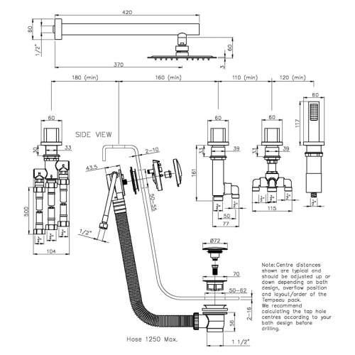 Abode AB3106 Fervour Thermostatic Deck Mounted Bath Overflow Filler Kit