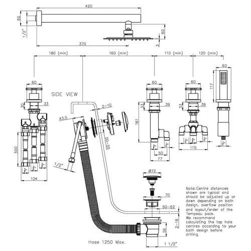 Abode AB3103 Serenitie Thermostatic Deck Mounted Bath Overflow Filler Kit
