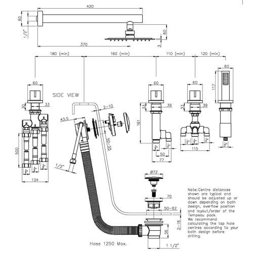 Abode AB3102 Bliss Thermostatic Deck Mounted Bath Overflow Filler Kit