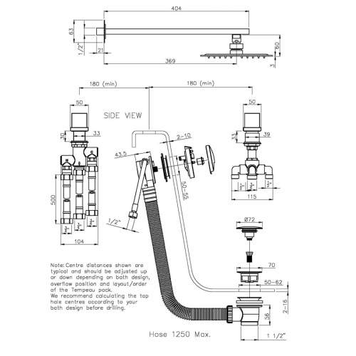 Abode AB3088 Zeal Thermostatic Deck Mounted 2 Hole Bath Overflow Filler Kit