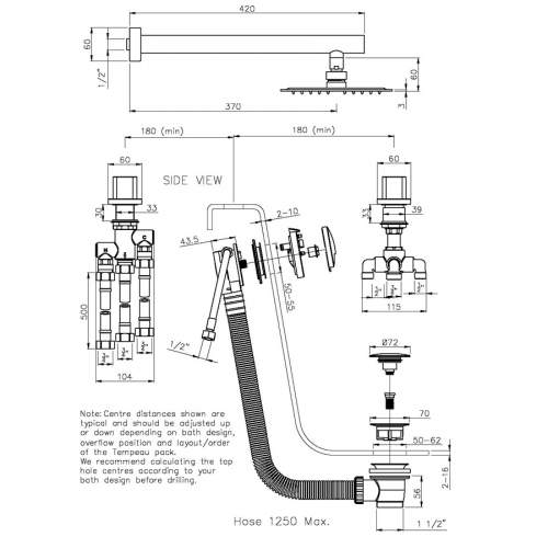 Abode AB3086 Rapture Thermostatic Deck Mounted 2 Hole Bath Overflow Filler Kit
